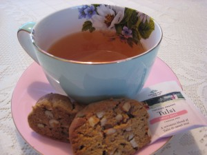 Cookies served with Tulsi rose tea
